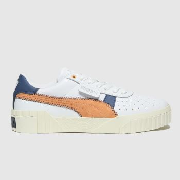 PUMA White & Navy Cali Retro Trainers