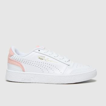 PUMA White & Pink Ralph Sampson Lo Perf Womens Trainers#