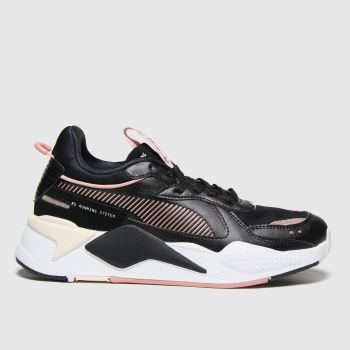 PUMA Black & White Rs-x Mono Metal Womens Trainers#