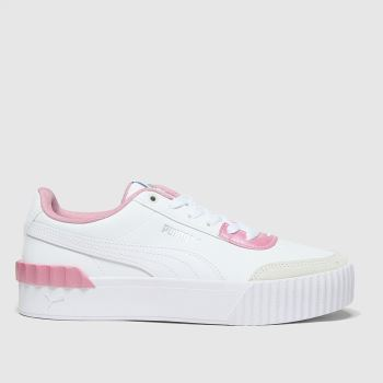 PUMA White & Pink Carina Lift Pearl Womens Trainers#