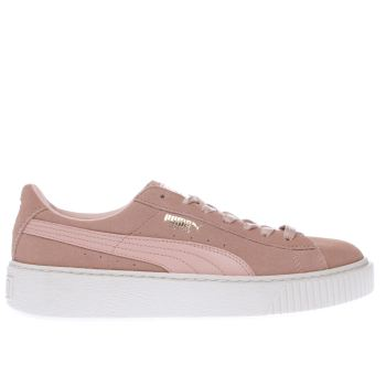 womens pale pink puma suede platform trainers  fd674aed1