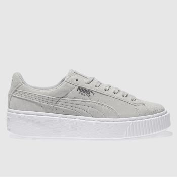 Puma Light Grey SUEDE PLATFORM Trainers