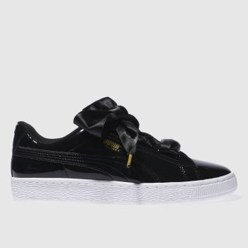 new style bb598 5b952 womens black & white puma basket heart trainers | schuh