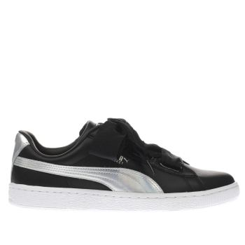 PUMA BLACK & SILVER BASKET HEART EXPLOSIVE TRAINERS