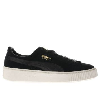 Puma Black Suede Platform Satin Womens Trainers
