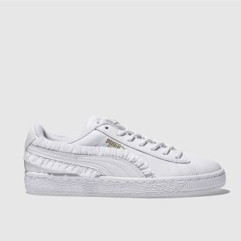 PUMA WHITE BASKET CLASSIC FRILL TRAINERS