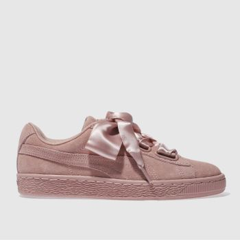 womens pink puma basket heart satin ii trainers  ede44d7bb2