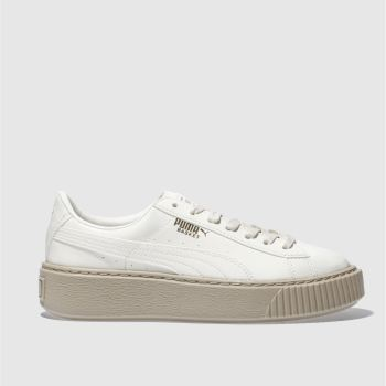 Puma Natural Basket Platform Patent Womens Trainers