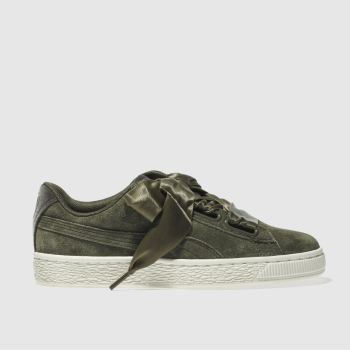 Puma Khaki Basket Heart Suede Velvet Rope Womens Trainers