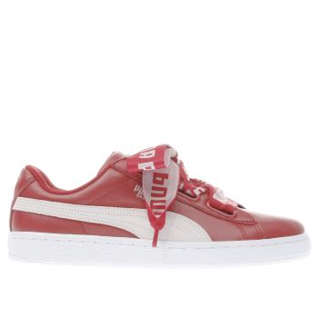Puma Red Basket Heart De Womens Trainers