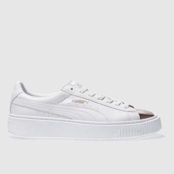 Puma White Basket Platform Metallic Womens Trainers