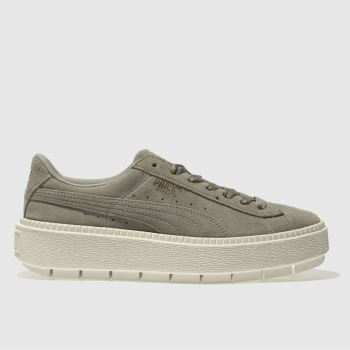 Puma Grey Trace Suede Platform Womens Trainers