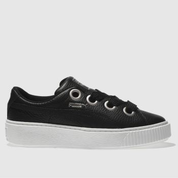 Puma Black Platform Kiss Leather Womens Trainers