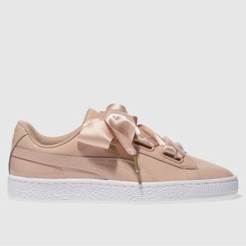 Puma Pink Basket Heart Patent Womens Trainers