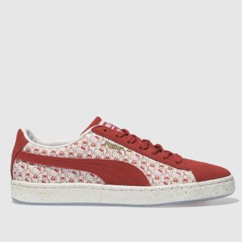314191f22db womens white   red puma suede x hello kitty trainers
