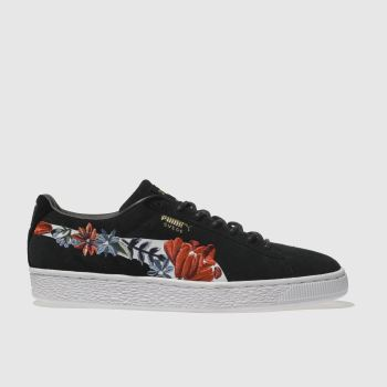 Puma Black Suede Classic Embroidered Womens Trainers