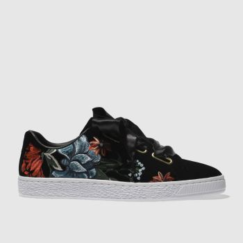 Puma Black Basket Heart Hyper Embroidery Womens Trainers
