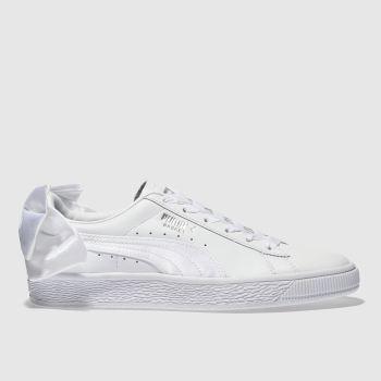 ec3f11e685f womens white puma basket bow trainers