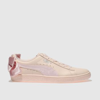 Puma Pale Pink Basket Bow Womens Trainers