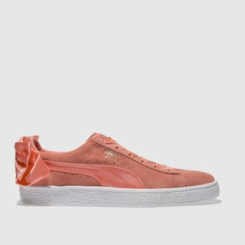 Puma Pink Basket Suede Bow Womens Trainers