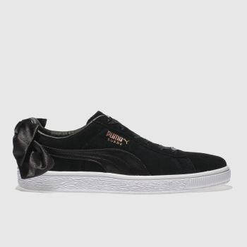 Puma Black Basket Suede Bow Womens Trainers