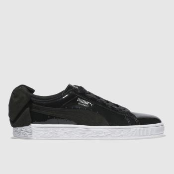 ccf59a7f9c9 womens black puma basket bow sb trainers