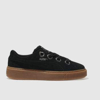 Puma Black Platform Kiss Suede Womens Trainers