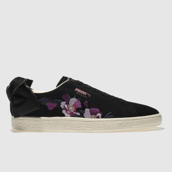 68cf1992575 Puma Black   Purple Suede Bow Flowery Womens Trainers