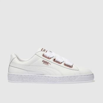 Puma White BASKET HEART LEATHER Trainers
