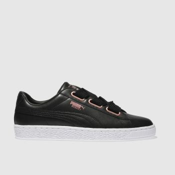 puma black basket heart leather trainers