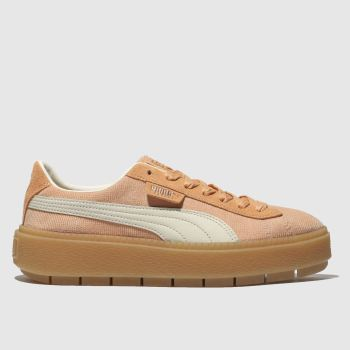 Puma Pale Pink Platform Trace Corduroy Womens Trainers