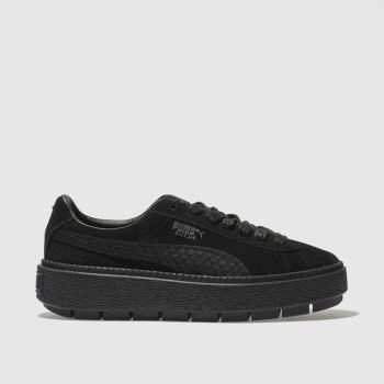 Puma Black Suede Platform Trace Animal Womens Trainers