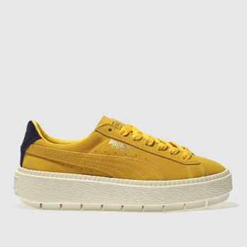 PUMA BLUE & YELLOW TRACE SUEDE PLATFORM TRAINERS