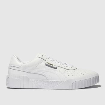 e059c7b96a85 Puma White Cali Leather Womens Trainers