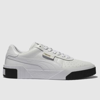 Puma White   Black Cali Leather Womens Trainers 84ddbbd3c