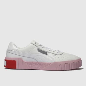Puma White & Pink Cali Leather Womens Trainers
