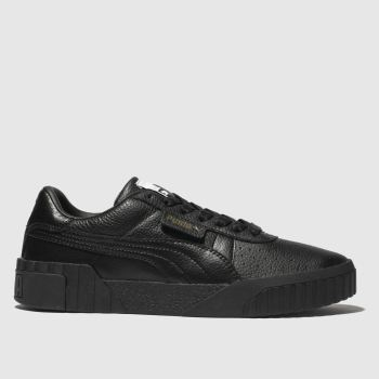 PUMA Black Cali Leather Womens Trainers