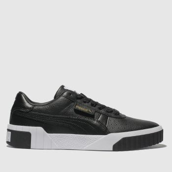 Puma Black & White Cali Leather Womens Trainers