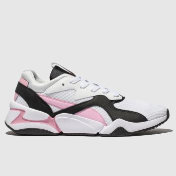 Puma White & Pink Nova 90s Block Womens Trainers from Schuh