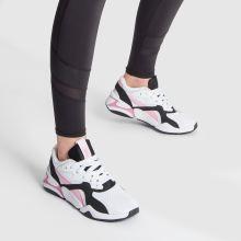 76d2640ae womens white & pink puma nova 90s block trainers | schuh