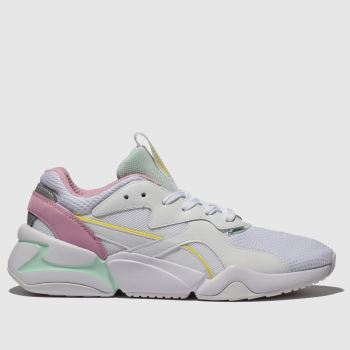 Puma White & Yellow Nova Mesh Womens Trainers