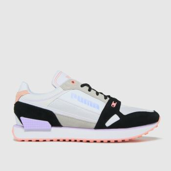 PUMA White & Black Mile Rider Power Play Womens Trainers