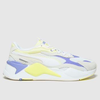 PUMA White & Yellow Rs-x3 Twill Air Mesh Womens Trainers