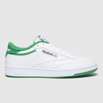 Reebok White & Green Club C 85 Womens Trainers