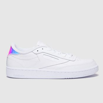 Reebok White & Silver Club C 85 c2namevalue::Womens Trainers