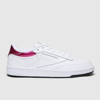 Reebok White & Pink Club C 85 Trainers