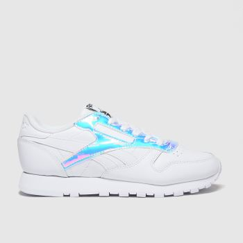 Reebok White & Silver Classic Leather Trainers