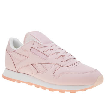 4c3e7310167 womens pale pink reebok classic leather face trainers