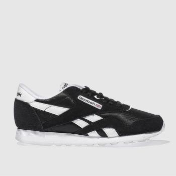 90df103827d womens black   white reebok classic nylon trainers