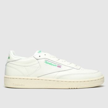 Reebok White & Green Club C 85 c2namevalue::Womens Trainers